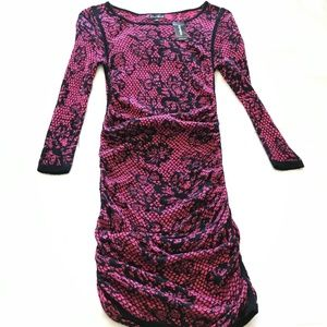Express Sweater Dress Black Red Floral Lace Print